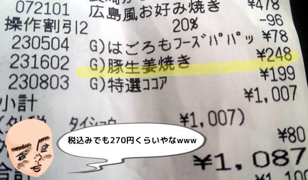 豚生姜焼き248円