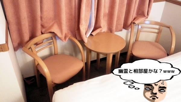 ホテルの部屋のテーブル